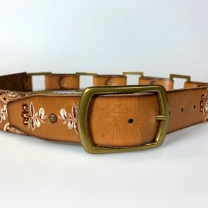 Lucky Brand Tan Leather Hip Belt Embroidered M/L